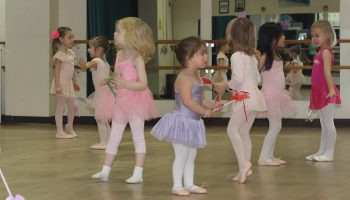 Young girls practicing ballet
