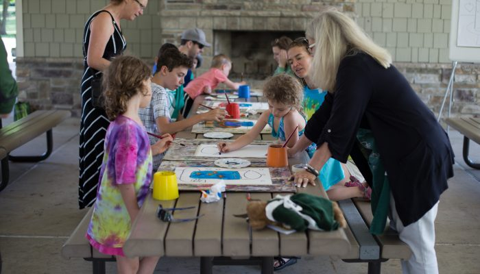 children painting at art in the park