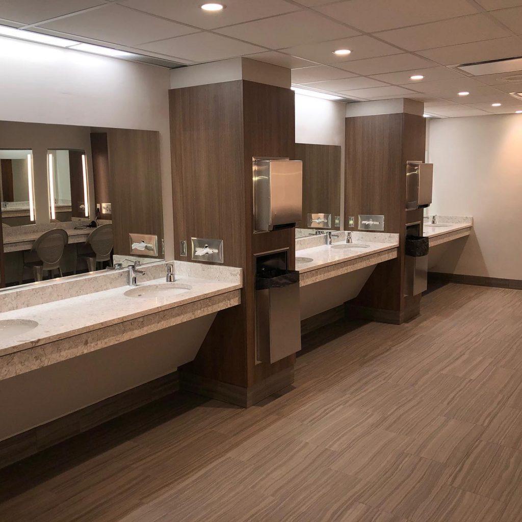 recently renovated women's locker room